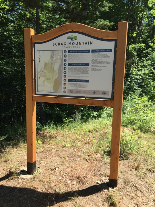 Trailhead kiosk at Scrag Mountain Town Forest. (July 9, 2018). Source: Bob Cook & Joshua Schwartz